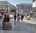 Calle Preciados de Madrid: seguridad anti-yihadista con maceteros