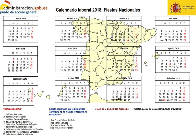 Calendario Diciembre 2018 Con Festivos.Calendario Laboral 2018 Ya Son Oficiales Todas Las Fiestas