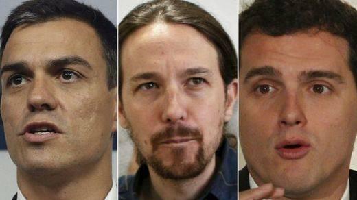 Sánchez, Rivera e Iglesias cierran un primer gran debate sin Rajoy