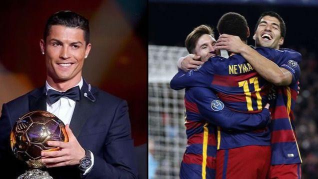 Cristiano se cuela en la fiesta del Bar�a como candidato al Bal�n de Oro y ante los favoritos Messi y Neymar