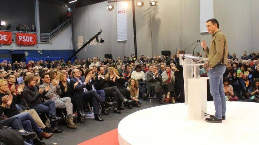 El candidato socialista en el acto de apertura de campaña celebrado en Getafe.