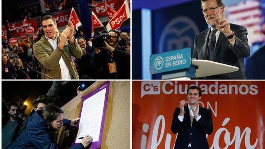 Los candidatos se miran de reojo: Rivera cree que PP y PSOE han pactado contra él; Iglesias que quieren que Soraya sea presidenta; Sánchez que Rajoy manipula el CIS, y Rajoy que harán lo que sea para echarle