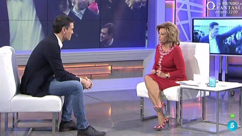 Pedro Sánchez, 'un hijo de clase de media y un padre de clase media', también cumple con María Teresa Campos