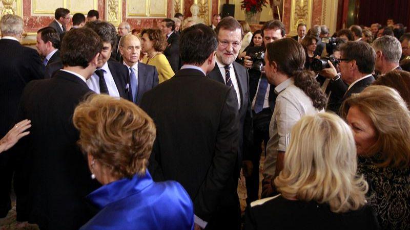 Rajoy y, de espaldas, Rivera, Sánchez e Iglesias, hoy en el Congreso.
