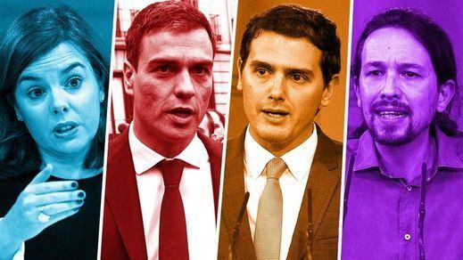 Llega el 'debatazo'... sin presidente: Sánchez, Iglesias, Rivera y Santamaría se ven las caras de pie, sin atriles y sin teléfonos móviles