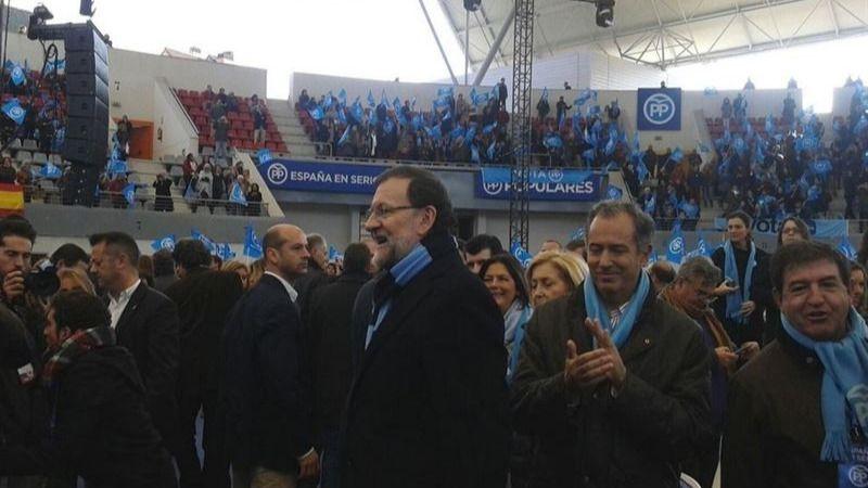 Mariano Rajoy, esta mañana, enla plaza de toros de Las Rozas.