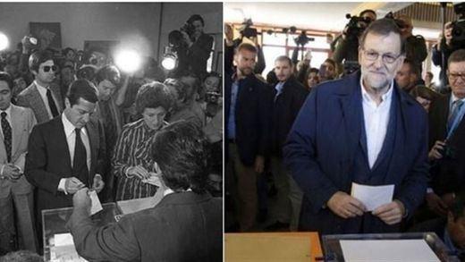 El PSOE denuncia a Interior ante la JEC por tuitear una imagen de Rajoy votando junto a una de Suárez