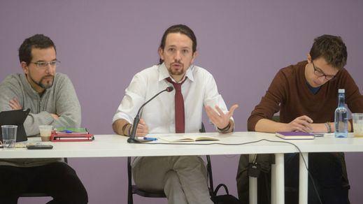 Sergio Pascual, Pablo Iglesias e Íñigo Errejón en la reunión del Consejo Ciudadano de Podemos