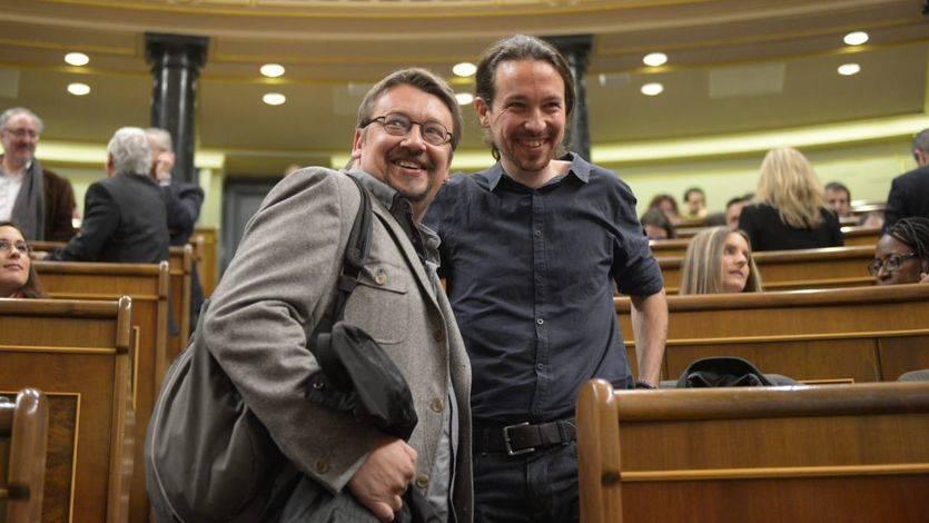 Pablo Iglesias y el portavoz de 'En Comú Podem', Xavier Doménech