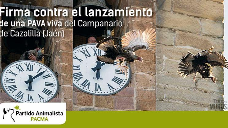 Cartel de la campaña del Pacma para salvar a la pava de Cazalillas.