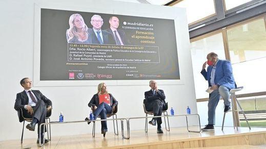 José Antonio Poveda, secretario general de Escuelas Católicas de Madrid, Rocío Albert, viceconsejera de Política Educativa de la Consejería de Educación y Juventud de la Comunidad de Madrid, Rafael Puyol, presidente de UNIR