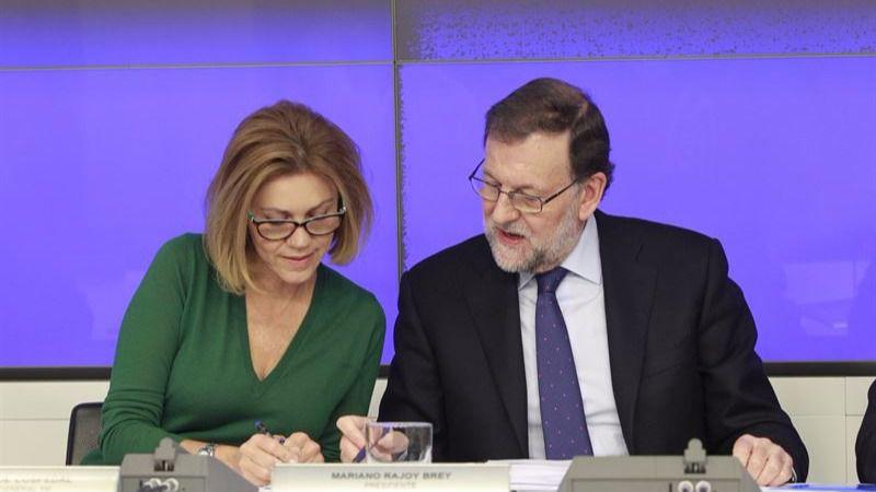 Mariano Rajoy María Dolores de Cospedal, esta tarde en la reunión del Comité ejecutivo Nacional del PP.