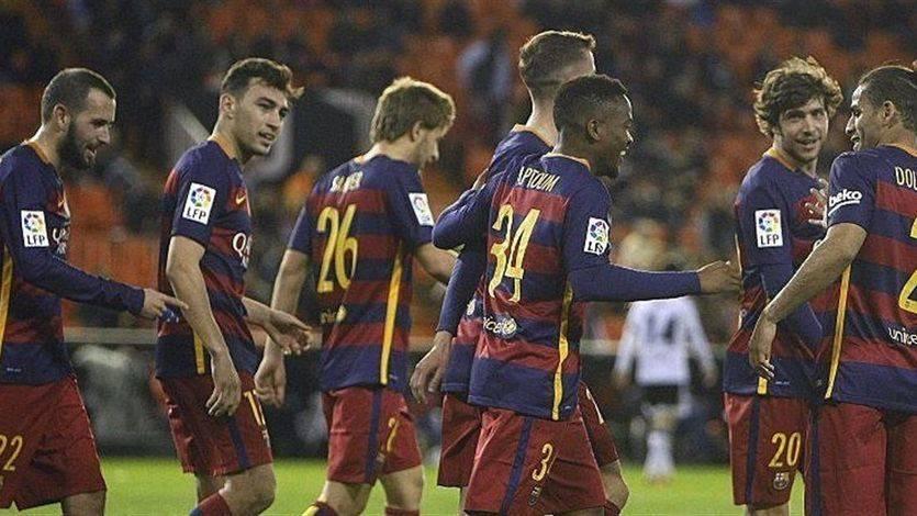 El canterano Kaptoum evita en Valencia la derrota de un Barça plagado de reservas en el trámite copero (1-1)
