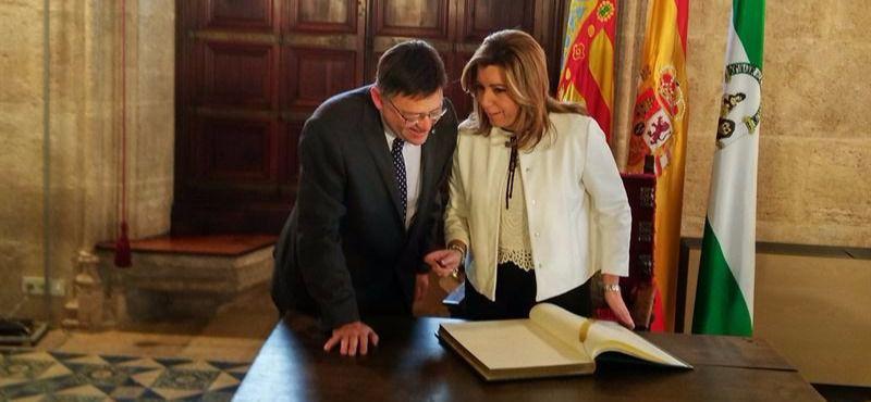 Ximo Puig y Susana Díaz, este domingo en Valencia.