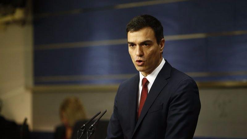 Pedro Sánchez, esta tarde en el Congreso, tras conocer que el Rey le ha propuesto candidato a presidente del Gobierno.