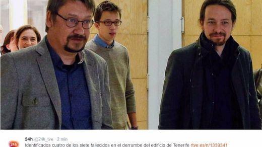TVE 'mata' por error a Iglesias, Errejón, Domènech y Colau