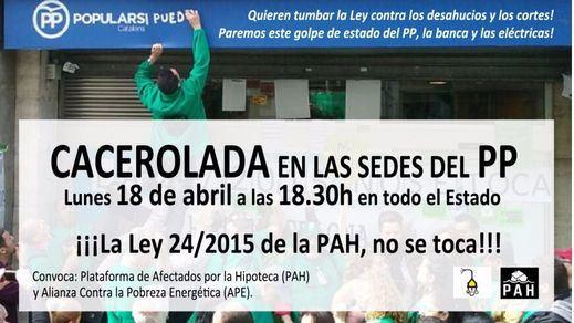 La PAH convoca caceroladas frente a todas las sedes del PP de España