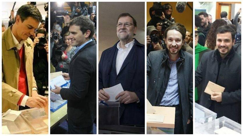 Candidatos votando: Sánchez, Rajoy, Rivera, Iglesias y Garzón