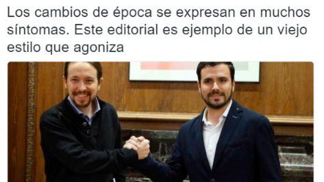 La dura respuesta de Pablo Iglesias por Twitter al editorial de El País contra Podemos y Atresmedia