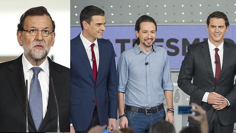 Así será el 'debate a cuatro' de hoy: hablarán de pie desde un atril en un plató en tonos negros y grises