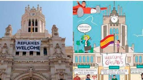 La ONU alaba a Carmena y Colau mientras el PP caricaturiza su 'Refugees welcome'