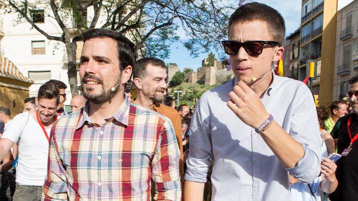 Alberto Garzón e Íñigo Errejón antes de un mitin en Málaga