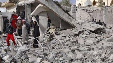 Foto de archivo de una zona siria bombardeada