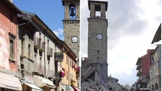 Pueblo de Amatrice (Italia), antes y después del terremoto del 24 de agosto de 2016