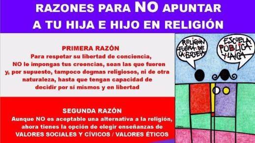 Campaña de Europa Laica para que los padres respeten la libertad de conciencia de sus hijos y no los apunten a Religión