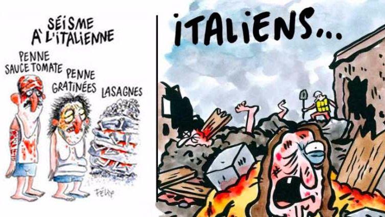 Viñetas de Charlie Hebdo sobre el terremoto de Amatrice en Italia