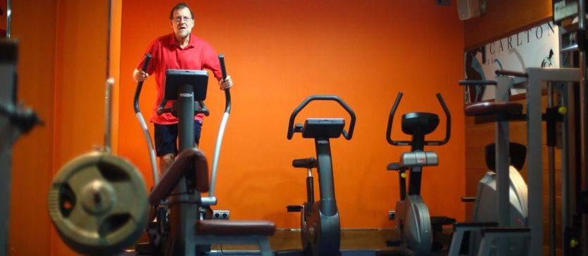 Rajoy hace ejercicio, este sábado, en un hotel de Bilbao,