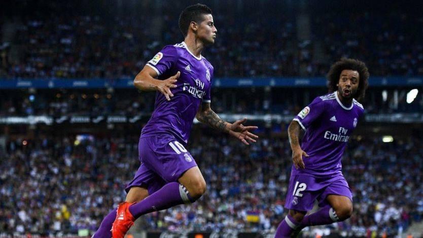 James mantiene el récord de un Real Madrid líder e imbatible (0-2)