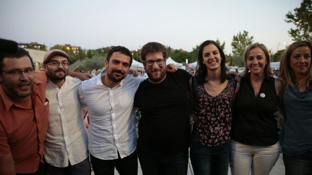 Ramón Espinar, Miguel Urbán, Rita Maestre y Tania Sánchez, juntos en un mitin