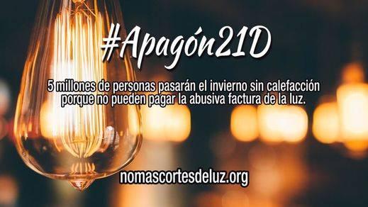 Organizaciones sociales y partidos políticos, menos PP, PSOE y Ciudadanos, convocan un apagón el 21D contra los abusos de las eléctricas