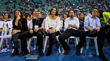Iglesias y los principales dirigentes de Podemos durante Vistalegre I