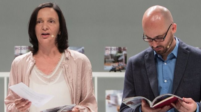 Carolina Bescansa y Nacho Álvarez en la presentación del programa de Podemos para el 26J