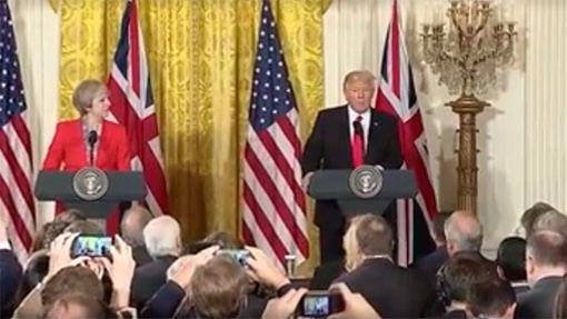 Theresa May y Donald Trump estrechan su alianza con la OTAN y el Brexit de por medio