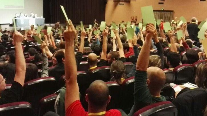 Imagen de la asamblea celebrada hoy por las CUP.