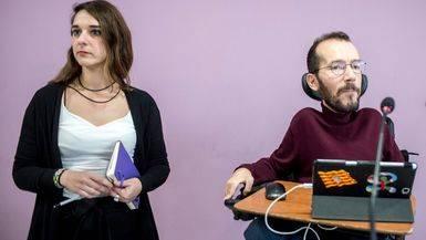 Noelia Vera y Pablo Echenique, los nuevos co-portavoves de Podemos, comparecen tras la reunión de la ejecutiva