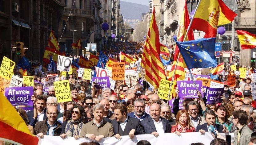 Manifestación anti-independentista de Societat Civil Catalana