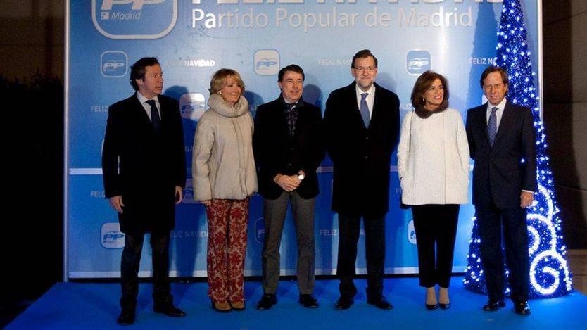 Floriano, Aguirre, Rajoy e Ignacio González, en una fiesta de Navidad del PP