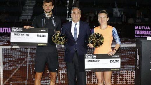 Halep y Dimitrov, campeones del Mutua Charity contra la violencia de género