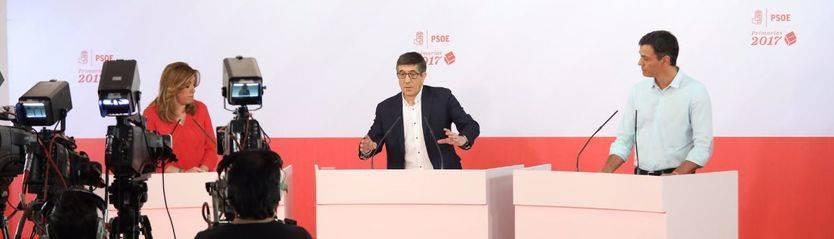 15-M, debate en el PSOE: Pedro Sánchez y Patxi López coinciden ante Susana Díaz en que 'la abstención al PP fue un error'