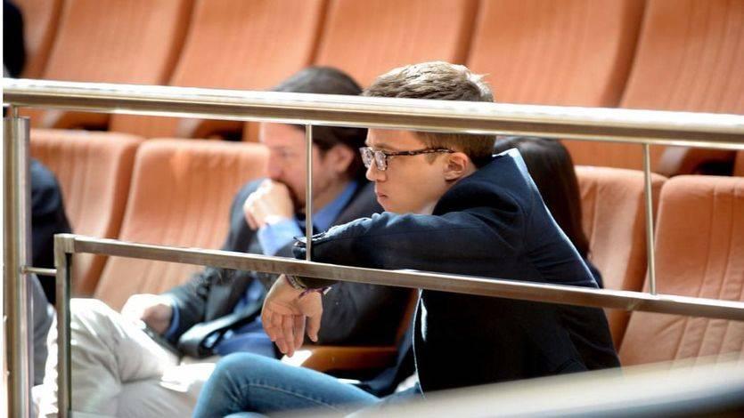 Errejón e Iglesias en la tribuna de invitados de la Asamblea de Madrid durante el debate de la moción