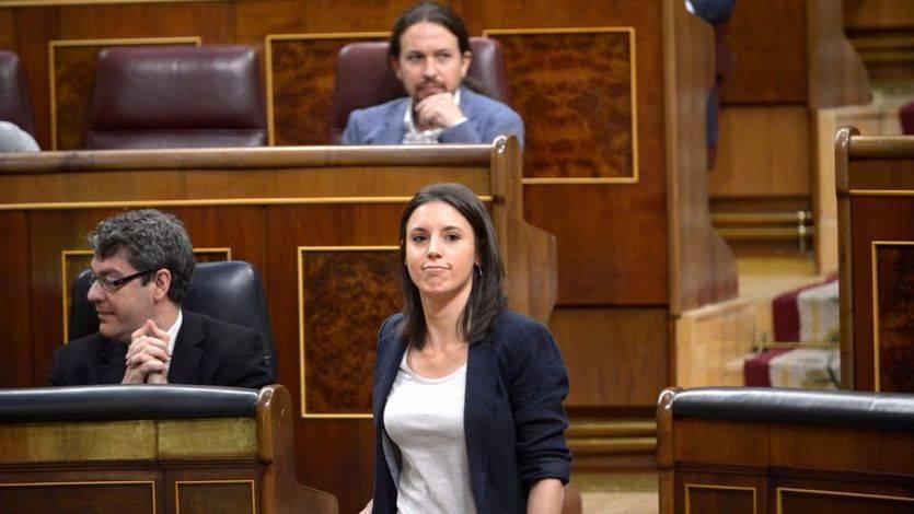 La portavoz de Unidos Podemos en el Congreso, Irene Montero, durante el debate de la censura a Rajoy