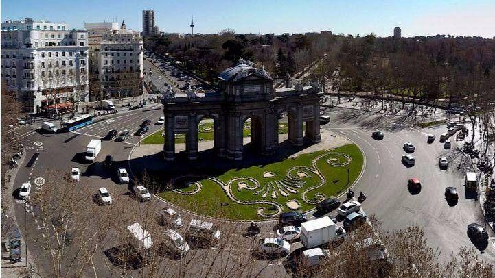 Vista aérea de la madrileña Puerta de Alcalá