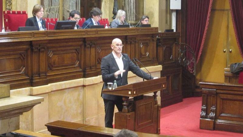 Raül Romeva durante su intervención en el Parlament