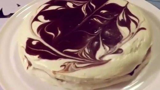 Tarta de queso y chocolate... ¡espectacular!