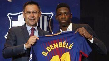 La surrealista presentación de Dembélé con el Barça