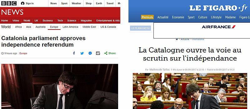 La prensa internacional se vuelca con la aprobación de la Ley del referéndum en Cataluña y la ve como una 'ruptura' formal